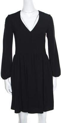 Chloé Black V-Neck Gathered Waist Long Sleeve Dress S
