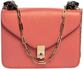 Valentino Pink Leather Small Flap Enamel Panther Shoulder Bag