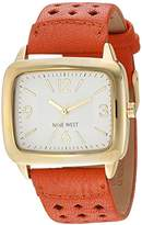 Nine West Women's NW/1776SVOR Gold-Tone and Orange Perforated Strap Watch