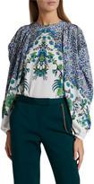 Givenchy Jacaranda Crepe Puff-Sleeve Blouse