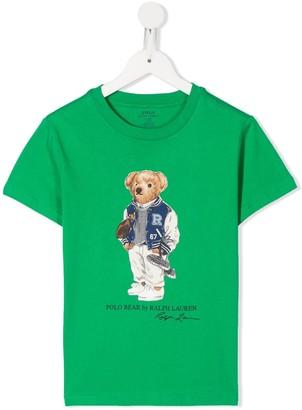 Ralph Lauren Kids Football Bear-print cotton T-shirt