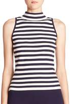 Milly Women's Striped Sleeveless Mockneck Top