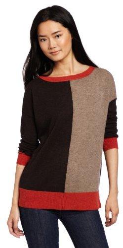 Autumn Cashmere Women's Color Block Boxy Boatneck Tunic Sweater