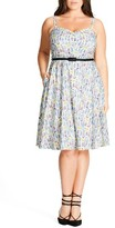 City Chic Plus Size Women's 'Open Rose' Belted Floral Fit & Flare Dress