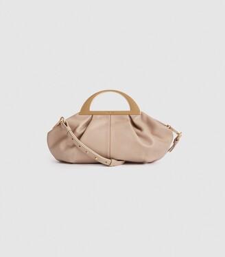 Reiss Irina - Leather Cross Body Bag in Blush