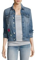 7 For All Mankind Trucker Rose Embroidered Jacket, Blue