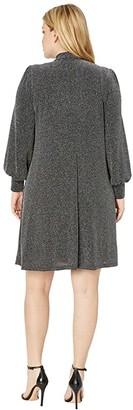 Karen Kane Plus Plus Size Tie Neck Taylor Dress (Silver) Women's Clothing