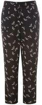 Evans Black Bird Print Tapered Leg Trousers