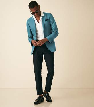Reiss Mellow - Wool Silk Blend Slim Fit Blazer in Teal