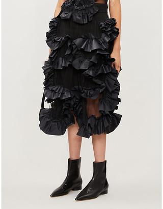 Roberts Wood Ruched-applique high-waist woven midi skirt