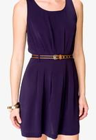 Forever 21 Pleated Dress w/ Striped Belt