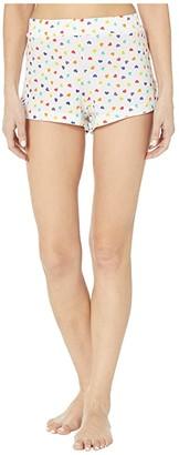 Only Hearts Rainbow Hearts Organic Cotton Lounge Shorts (White/Multi) Women's Shorts