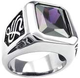 Vmculb Fashion Jewelry Men's Stainless Steel Ring with Lila Zircon Rectangle Vintage Silver Rings for Men Size 7