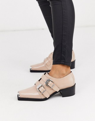 BEIGE ASOS DESIGN Morning leather monk flat shoes in