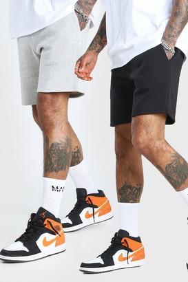 boohoo Mens Multi 2 Pack Mid Length Jersey Short, Multi