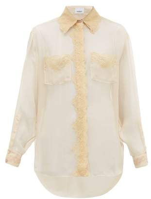 Burberry Shelly Lace Trimmed Mulberry Silk Chiffon Blouse - Womens - Light Pink