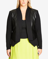 City Chic Plus Size Faux-Leather Open-Front Blazer
