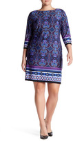 London Times Scroll Paisley 3/4 Sleeve Shift Dress (Plus Size)