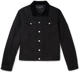 Alexander Mcqueen - Velvet-trimmed Distressed Denim Jacket