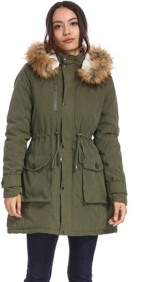 Vieliring Women Military Hooded Warm Winter Parkas Faux Fur Lined Jacket Coats (Olive Green 8)
