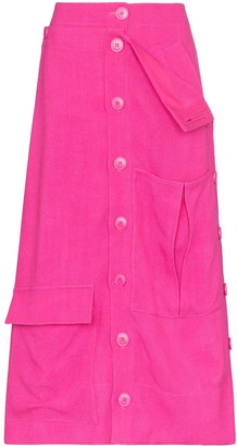 Jacquemus Monceau fold-over waist midi skirt