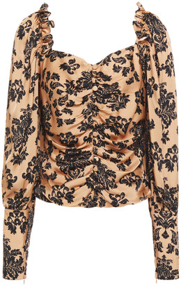Mother of Pearl Sasha Ruched Printed Hammered-satin Blouse