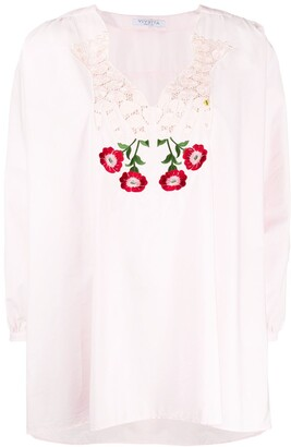VIVETTA Embroidered Floral Neckline Blouse