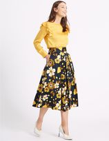 Marks and Spencer Cotton Rich Floral Print A-Line Midi Skirt