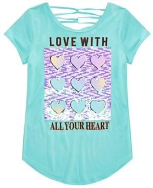 Beautees Big Girls Flip Sequined Love Heart Top