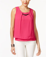NY Collection Petite Layered-Look Hardware Top