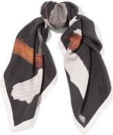 Karl Lagerfeld Printed washed-silk scarf