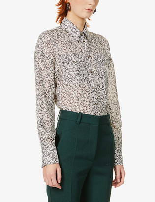 Brunello Cucinelli Floral-print relaxed-fit silk shirt