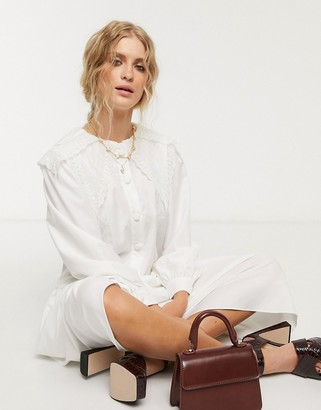 Sister Jane midi shirt dress with vintage bib collar in cotton