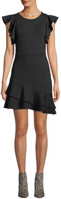 Rebecca Minkoff Saphira Linen-Blend Flounce Dress