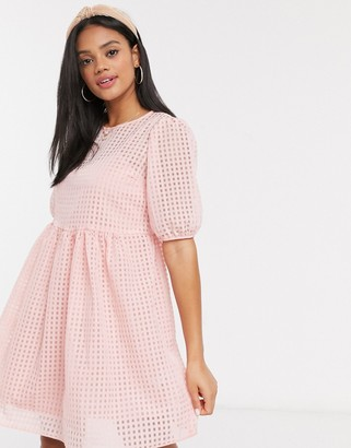 New Look smock dress with slip in pink gingham