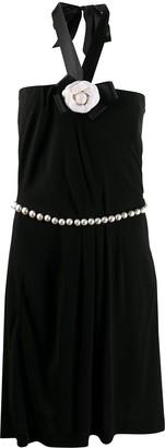Chanel Pre Owned Floral Applique Halterneck Dress
