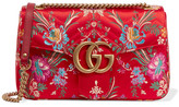 Gucci Gg Marmont Medium Quilted Floral-jacquard Shoulder Bag - Red