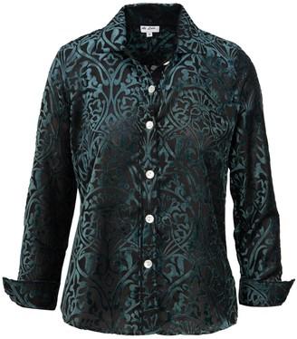 At Last... Karen Silk Shirt- Green Flower