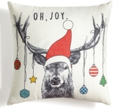 "Holiday Lane Deer With Ornaments 18"" Square Decorative Pillow, Created for Macy's"