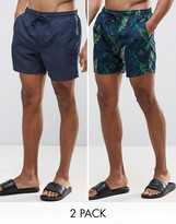 Brave Soul Bravesoul 2 Pack Swim Shorts in Tropical Print and Navy Plain