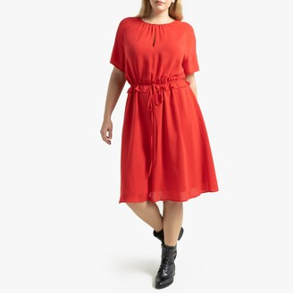 La Redoute Collections Plus Short-Sleeved Mid-Length Dress with Drawstring Waist