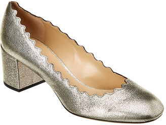 Chloé Lauren Scalloped Metallic Leather Pump