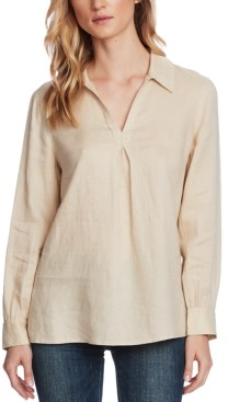 Vince Camuto Petite Linen Split-Neck Collared Top