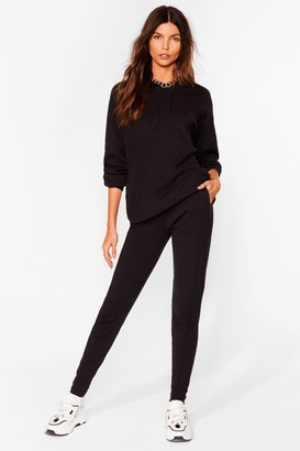 Nasty Gal Womens Leave 'Em to Knit Hoodie and Leggings Lounge Set - Black
