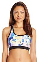 Calvin Klein Women's Geo Floral Sporty Racerback Bikini Top with Mesh Panel