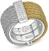 Alor Two Tone Cable Ring with Diamonds