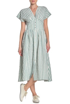Heros And Dreamers Striped Seersucker Midi Dress