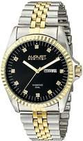 August Steiner Men's AS8047TTGB Diamond Accented Black Dial Silver & Yellow Gold Bracelet Watch
