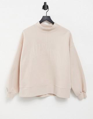 AllSaints Nevarra high neck sweatshirt with tonal logo in rose pink