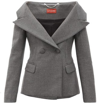 Altuzarra Darlene Off-the-shoulder Wool-blend Jacket - Grey